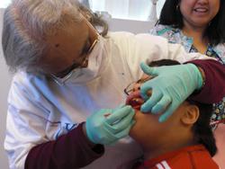 Boy having oral examination